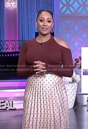 Tamera's burgundy cutout top and polka dot skirt on The Real
