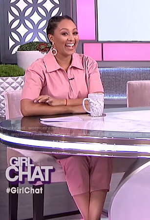 Tamera's pink short sleeve jumpsuit on The Real