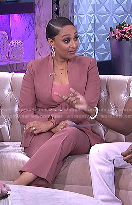 Tamera's pink lapelless jacket and pants on The Real