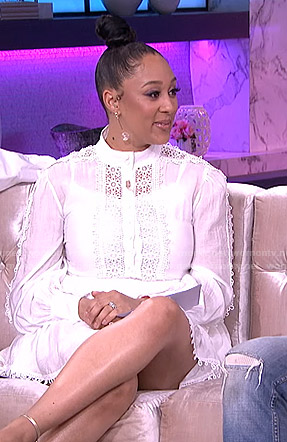 Tamera's white crochet trim dress on The Real