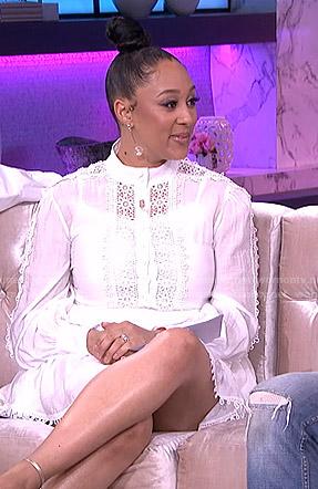 Tamera's white crochet trim dress on The Real