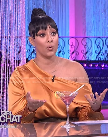 Tamera's orange satin asymmetric top on The Real