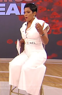 Tamron's white jumpsuit on Tamron Hall Show