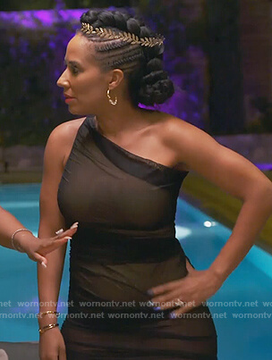 Tanya Sam's black sheer one shoulder dress on The Real Housewives of Atlanta