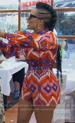 Tanya Sam's red printed romper on The Real Housewives of Atlanta