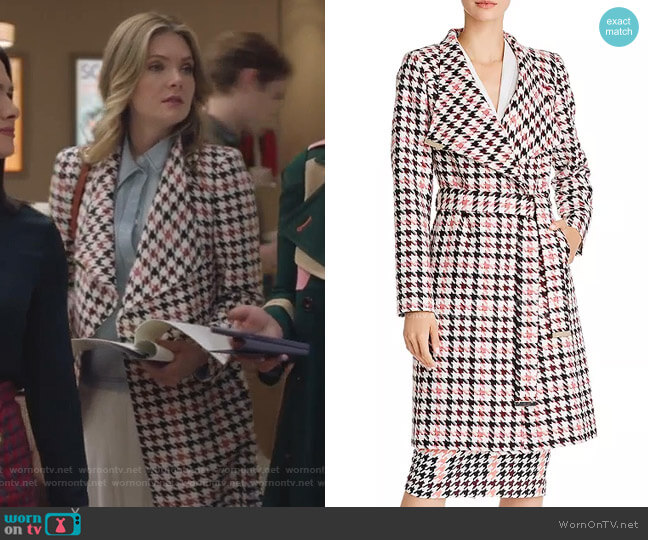 Abellaa Houndstooth Belted Coat by Ted Baker worn by Sutton (Meghann Fahy) on The Bold Type