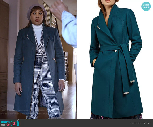 Ellgenic Long Belted Coat by Ted Baker worn by Vivica A. Fox on Empire
