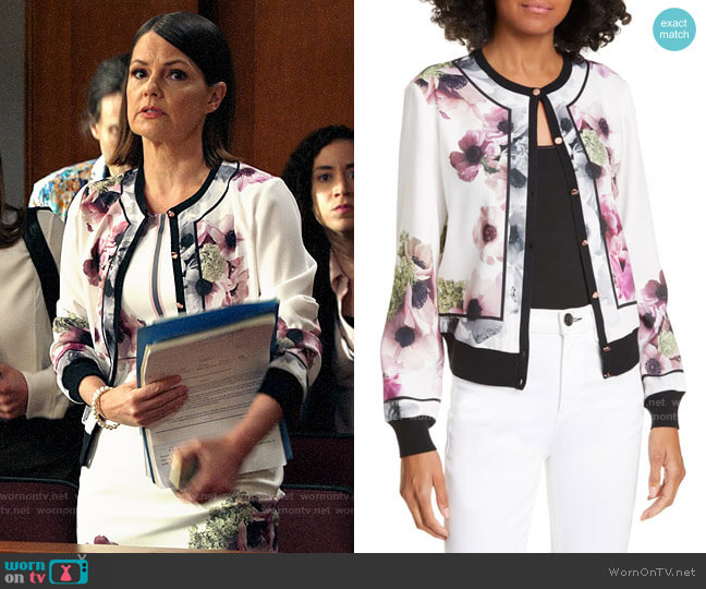 Ted Baker Neopolitan Border Cardigan worn by Maggie Palmer (Suzanne Cryer) on All Rise