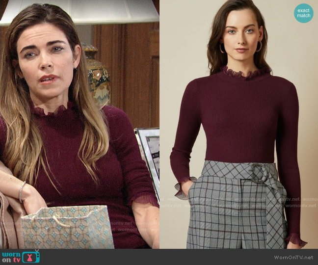 Ted Baker Dvana Sweater worn by Victoria Newman (Amelia Heinle) on The Young & the Restless