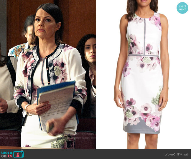 Ted Baker Nanina Dress worn by Maggie Palmer (Suzanne Cryer) on All Rise