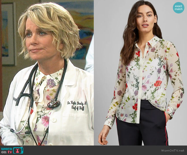 Ted Baker Shivany Shirt in Hedgegrow Floral worn by Kayla Brady (Mary Beth Evans) on Days of our Lives