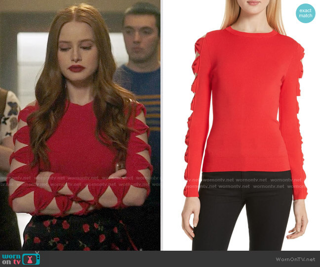 Ted Baker Yonoh Sweater worn by Cheryl Blossom (Madelaine Petsch) on Riverdale