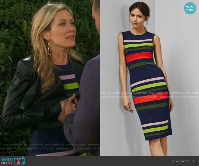 Ysina Striped Dress by Ted Baker worn by Kristen DiMera (Stacy Haiduk) on Days of our Lives