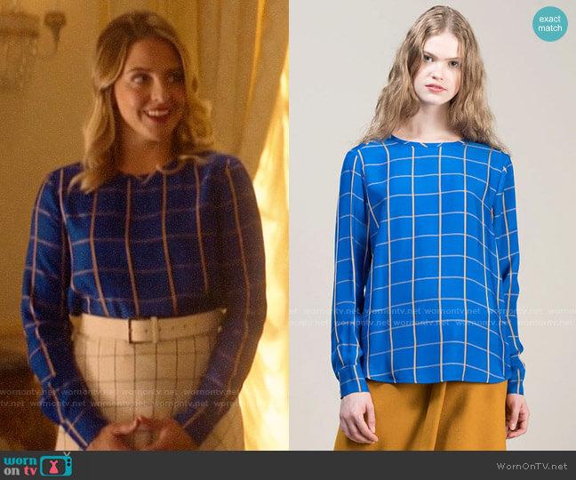 Tela Cornflower Blue Multicheck Pattern Viscose Blouse worn by Amanda (Helene Yorke) on Katy Keene