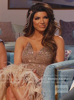 Teresa's pink sequin and feather trim gown on The Real Housewives of New Jersey