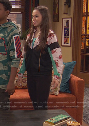 Tess's pink floral track jacket on Ravens Home