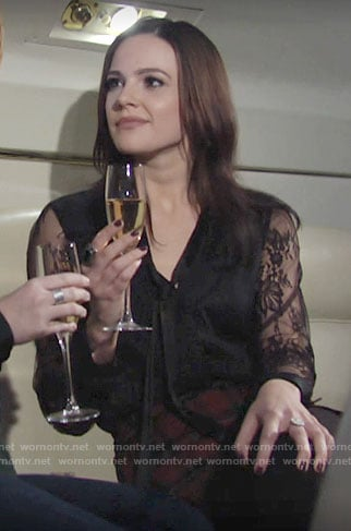 Tessa's lace blouse and plaid skirt on The Young and the Restless