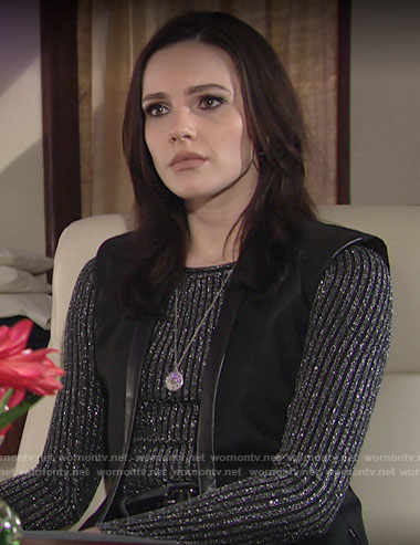 Tessa's metallic rib sweater on The Young and the Restless