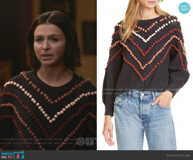 The Bobble Sweater by The Great worn by Amelia Shepherd (Caterina Scorsone) on Greys Anatomy