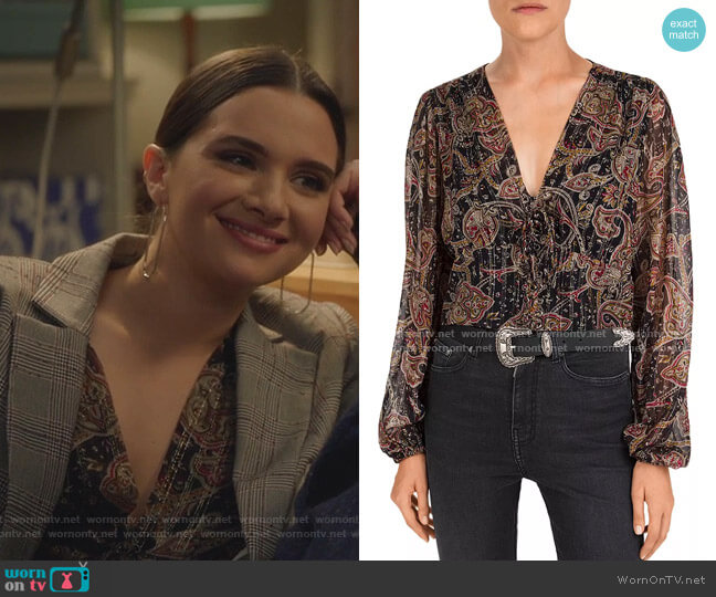 Tanger Paisley Silk-Blend Top by The Kooples worn by Jane Sloan (Katie Stevens) on The Bold Type