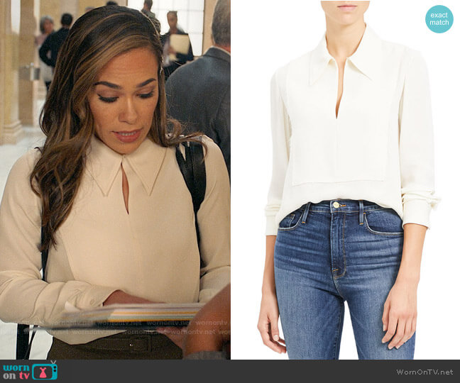 Theory Yoked Popover Silk Blouse worn by Emily Lopez (Jessica Camacho) on All Rise
