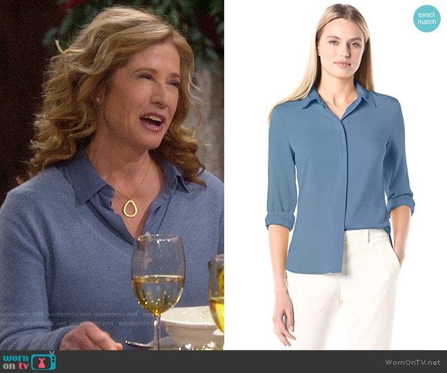 Theory Classic Fitted Shirt in Cornflower worn by Vanessa Baxter (Nancy Travis) on Last Man Standing