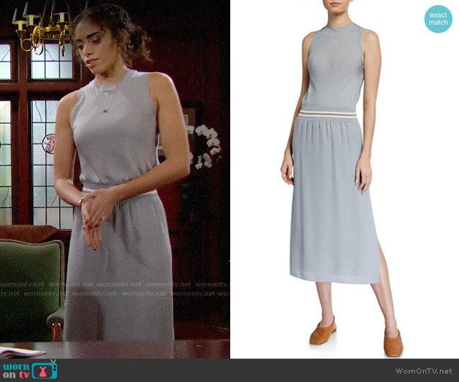 Theory Lewie Dress in Mist Blue worn by Zoe (Kiara Barnes) on The Bold & the Beautiful