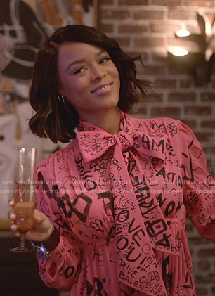 Tiana's pink graffiti print tie neck dress on Empire