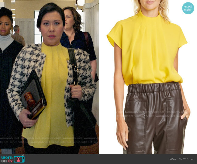 Tibi Esme Pleated Crepe Top worn by Sherri Kansky (Ruthie Ann Miles) on All Rise