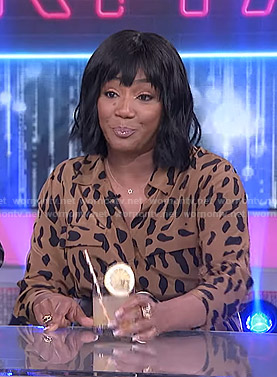 Tiffany Haddish's leopard print shirtdress on The Real