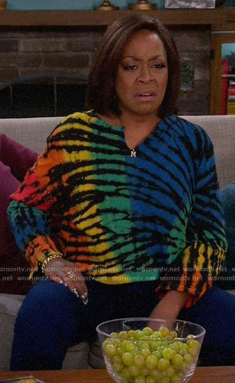 Tina's rainbow tie dye long sleeve tee on The Neighborhood