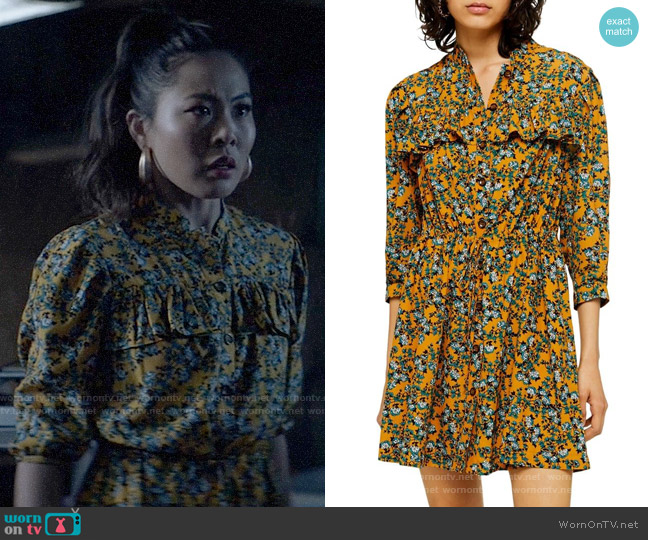 Topshop Floral Print Pleat Minidress worn by Mary Hamilton (Nicole Kang) on Batwoman
