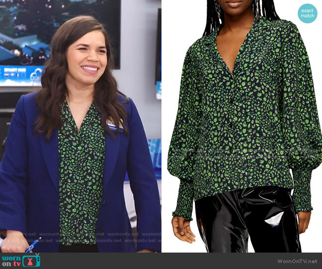 Print Balloon Sleeve Blouse by Topshop worn by Amy (America Ferrera) on Superstore