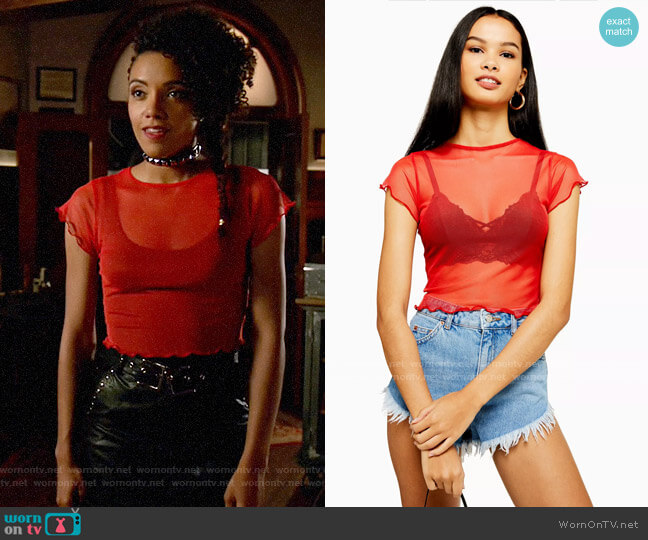 Topshop Red Short Sleeve Lettuce Mesh Top worn by Charlie (Maisie Richardson-Sellers) on Legends of Tomorrow