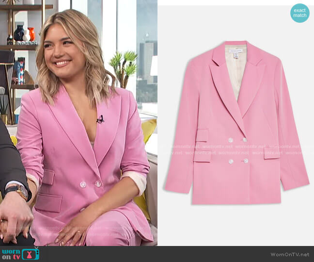 Double Breasted Blazer by Topshop worn by Giannina Gibelli on E! News Daily Pop
