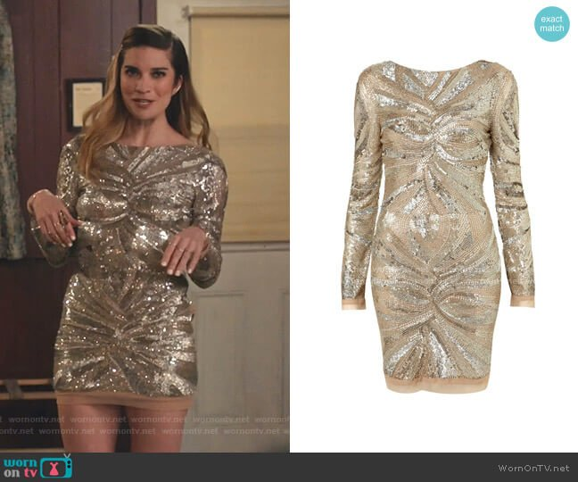 Embellished Bodycon Dress by Topshop worn by Alexis Rose (Annie Murphy) on Schitts Creek
