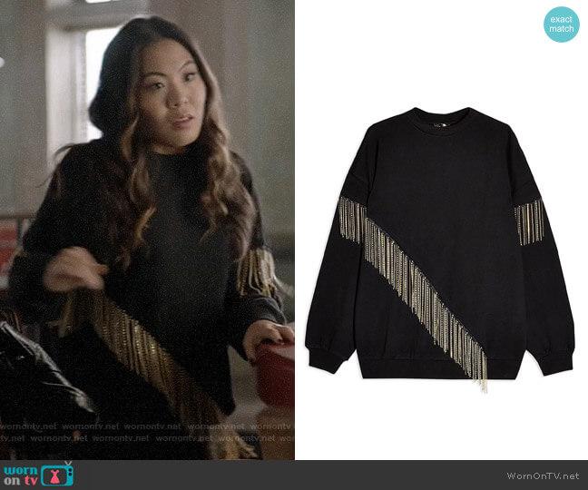 Topshop Fringe Chain Sweatshirt worn by Mary Hamilton (Nicole Kang) on Batwoman