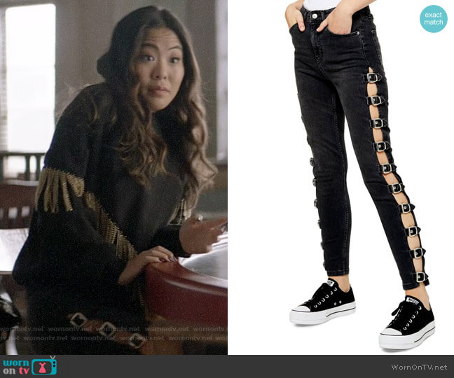 Topshop Jamie Side Buckle Jeans worn by Mary Hamilton (Nicole Kang) on Batwoman