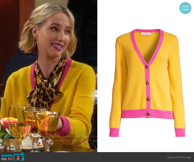 Tory Burch Contrast-Trim Cashmere Cardigan Sweater worn by Mandy Baxter (Molly McCook) on Last Man Standing
