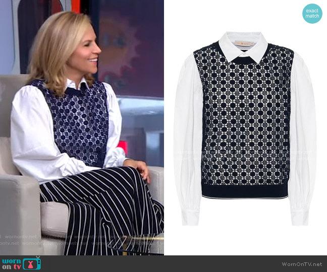 Crochet-Paneled Cotton-Blend Shirt by Tory Burch worn by Tory Burch on GMA