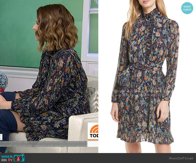 Deneuve Floral Long Sleeve Shirtdress by Tory Burch worn by Katherine Schwarzenegger on Today Show