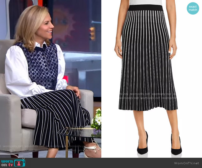 Striped Knit Skirt by Tory Burch worn by Tory Burch on GMA