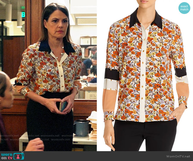 Tory Burch Studded Patchwork Silk Shirt worn by Maggie Palmer (Suzanne Cryer) on All Rise