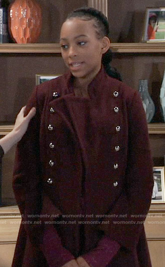 Trina's burgundy coat with silver buttons on General Hospital