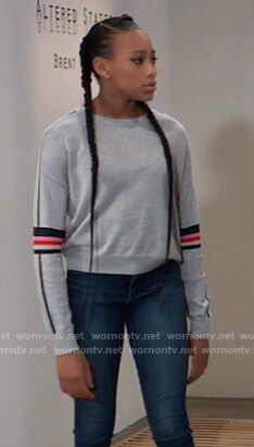 Trina's gray stripe sleeve sweatshirt on General Hospital