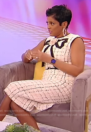 Tamron's white tweed sleeveless dress on Tamron Hall Show