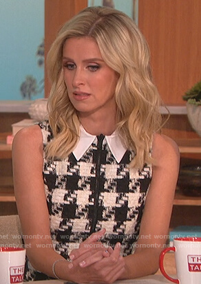 Nicky Hilton's tweed sleeveless houndstooth dress on The Talk