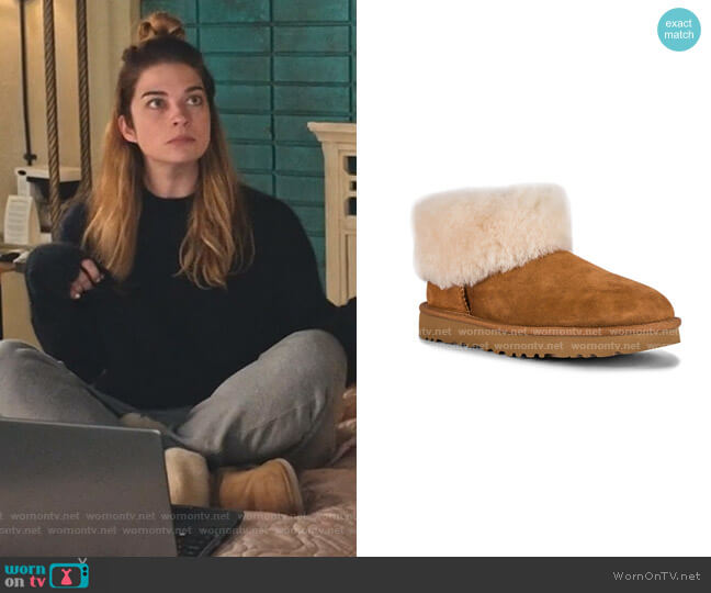 Classic Mini Fluff Booties by Ugg worn by Alexis Rose (Annie Murphy) on Schitts Creek