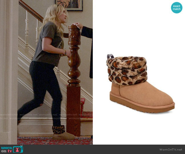 Ugg Mini Fluff Quilted Leopard Print Boot worn by Roxy Doyle (Emily Osment) on Almost Family