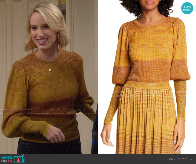 Ulla Johnson Dax Metallic Stripe Sweater worn by Mandy Baxter (Molly McCook) on Last Man Standing